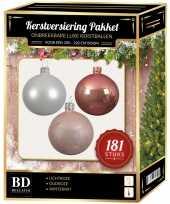 Kerstballen met piek set wit oudroze lichtroze voor 210 cm kerstboom