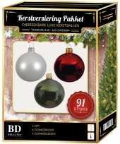 Kerstballen met piek set wit rood donkergroen voor 150 cm kerstboom
