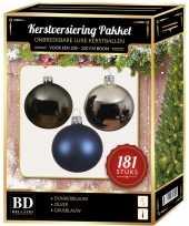 Kerstballen met piek set zilver grijsblauw blauw voor 210 cm kerstboom