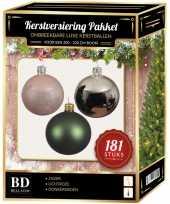Kerstballen met piek set zilver groen roze voor 210 cm kerstboom