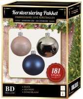 Kerstballen met piek set zilver roze blauw voor 210 cm kerstboom