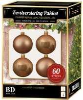 Kerstballen met ster piek set donker parel champagne voor 150 cm kerstboom