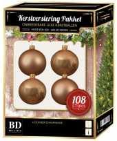 Kerstballen met ster piek set donker parel champagne voor 210 cm kerstboom