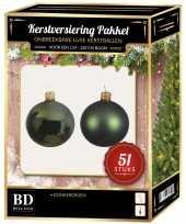 Kerstballen met ster piek set donkergroen voor 120 cm kerstboom 10170339