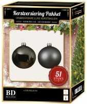Kerstballen met ster piek set grijsblauw voor 120 cm kerstboom 10170402
