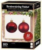 Kerstballen met ster piek set kerst rood voor 120 cm kerstboom