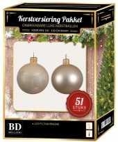 Kerstballen met ster piek set licht parel champagne voor 120 cm kerstboom