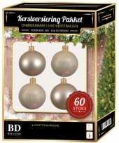 Kerstballen met ster piek set licht parel champagne voor 150 cm kerstboom
