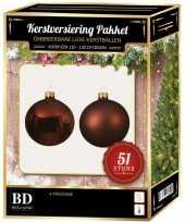 Kerstballen met ster piek set mahonie bruin voor 120 cm kerstboom 10170437