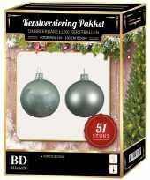 Kerstballen met ster piek set mintgroen voor 120 cm kerstboom 10170324