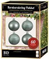 Kerstballen met ster piek set mintgroen voor 150 cm kerstboom