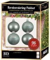 Kerstballen met ster piek set mintgroen voor 180 cm kerstboom