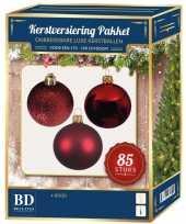 Kerstballen met ster piek set rood voor 180 cm kerstboom
