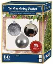 Kerstballen met ster piek set zilver voor 120 cm kerstboom 10161732