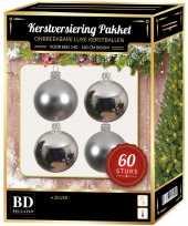 Kerstballen met ster piek set zilver voor 150 cm kerstboom 10157797