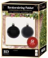 Kerstballen met ster piek set zwart voor 120 cm kerstboom 10170381