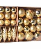 Kerstballen ornamenten pakket 31x gouden kunststof kerstballen mix