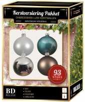 Kerstballen pakket 93 stuks met piek wit blauw bruin zilver