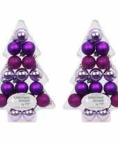 Kerstballen pakket paars 34 stuks 3 cm