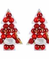 Kerstballen pakket rood 34 stuks 3 cm