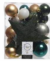 Kerstballen set dennen groen goud wit kunststof 33 stuks