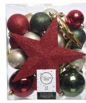 Kerstballen set groen goud rood kunststof 33 stuks