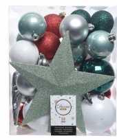 Kerstballen set groen zilver wit kunststof 33 stuks