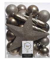 Kerstballen set in het bruin kunststof 33 stuks