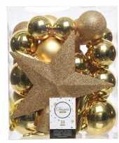 Kerstballen set in het goud kunststof 33 stuks