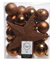 Kerstballen set in het koper kunststof 33 stuks