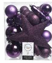 Kerstballen set in het paars kunststof 33 stuks