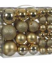 Kerstballenpakket 46x gouden kunststof kerstballen mix