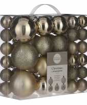 Kerstballenpakket 46x licht champagne kunststof kerstballen mix