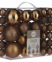 Kerstballenpakket 46x licht koperen kunststof kerstballen mix