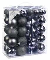 Kerstballenset antraciet tinten 47 delig met piek en kerstballen