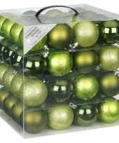 Kerstballenset groen 64 delig
