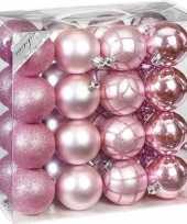 Kerstballenset mix roze 32 delig 7 cm