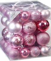 Kerstballenset mix roze 50 delig