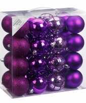 Kerstballenset paars 32 delig 7 cm