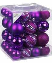 Kerstballenset paars 50 delig