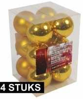 Kerstboom decoratie kerstballen goud 24x stuks 6 cm