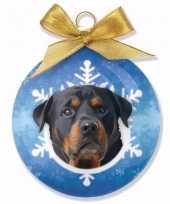 Kerstboomversiering dieren huisdieren kerstballen rottweiler honden 8 cm