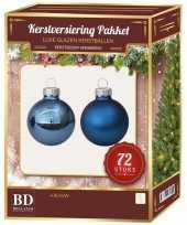 Kerstboomversiering kerstballen set blauw 72 stuks