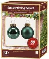 Kerstboomversiering kerstballen set emerald groen 88 stuks