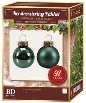 Kerstboomversiering kerstballen set emerald groen 97 stuks