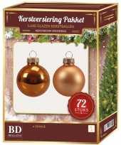 Kerstboomversiering kerstballen set oranje 72 stuks