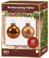 Kerstboomversiering kerstballen set oranje 97 stuks