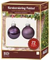 Kerstboomversiering kerstballen set paars 72 stuks