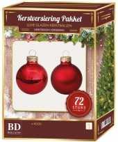 Kerstboomversiering kerstballen set rood 72 stuks