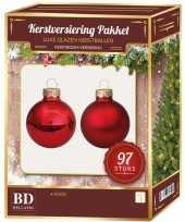 Kerstboomversiering kerstballen set rood 97 stuks